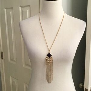 Long Necklace with Diamond Shape and Tassel